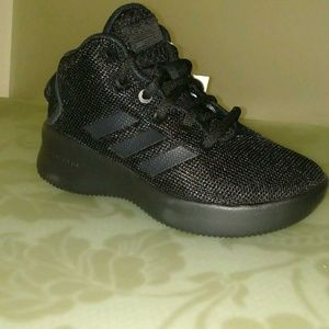 Kid's All Black Mid-Top Adidas Sneakers